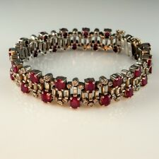 NATURAL RUBY Diamond Tennis Bracelet 14K White Gold Estate Mid Century Wide RED