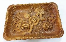 Vintage USA multi prod products inc 1944 wood tray flower floral design