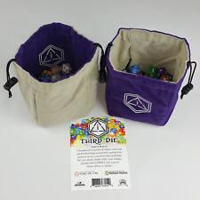 Third Die Dice Bags - Handmade, Reversible, Free Standing Closes Tight - Purple