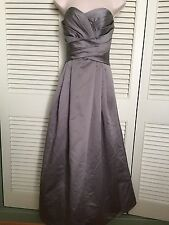 David's Bridal gray silver strapless gown Formal Dress Prom Bridesmaid size 10