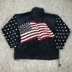 Vintage 90s Bear Ridge Outfitters Fleece Jacket Medium Patriotic USA Flag Stars