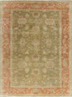 Antique Oushak Turkish MOOS GREEN Area Rug Hand-Knotted Oriental Carpet 8x10