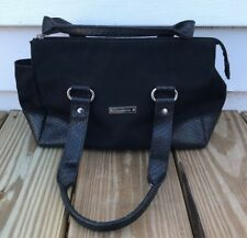 Liz Claiborne Bag Womens Handbag Black Mini Bag Zip Closure Faux Leather Fabric