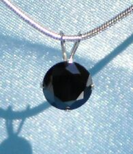 GIANT 2.50ct-- 9MM BLACK MOISSANITE- DIAMOND STERLING SILVER SOLITARE PENDANT