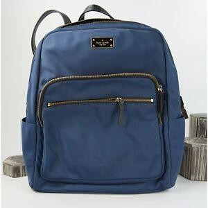 Kate Spade Wilson Road Navy Nylon Black Leather Large Bradley Backpack