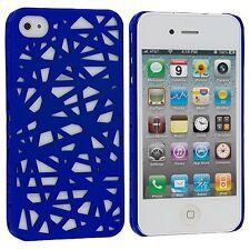 Hard Rubberized Snap Bird Nest Design Case for iPhone 4 / 4S - Dark Blue
