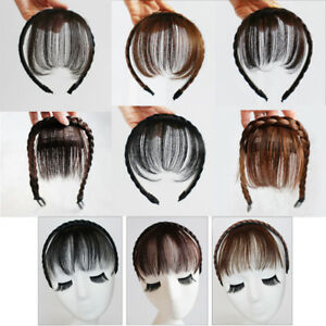 Fashion Women Synthetic Braids Headband Neat Bangs Hair Band Fringe Hairpieces