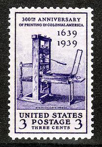 US # 857 (1939) - 3c -  MNH - Grade: XF - 300th Anniversary of Printing,