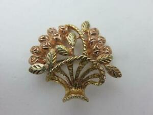 Sweet 10K Yellow & Rose Gold Flower Basket Pin Rosebud 6.5 grams