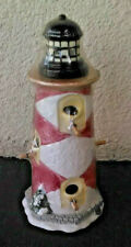 "13"" Wintertime Christmas Lighthouse Ceramic Bird House Never Used"