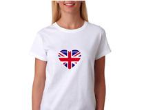British Flag Union Jack Heart T-shirt Design Cotton Women Ladies UK White