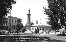 Clarinda Iowa~Civil War Soldier Monument~Graff Mercantile~Bank~1940s Cars~RPPC