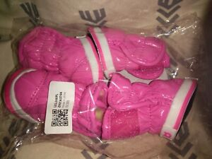 New, pink, water resistant, winter dog boots