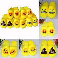 Cute Emoji Plush Unisex Slippers Cartoon Winter Warm Home Indoor Fluffy Shoes W