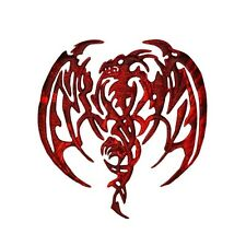 Red Dragon Patch Tribal Tattoo Design Mythical Beast Creature Iron-On Applique