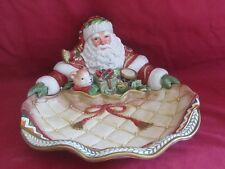 Fitz & Floyd Winter Holiday Santa Christmas Figurine Serving Dish