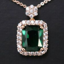 Antique Vintage Green Emerald Pendant Chain Necklace 14k Rose Gold Plated