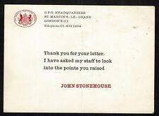 POST OFFICE HER MAJESTY'S POSTMASTER GENERAL JOHN STONEHOUSE 1968 FIRST CLASS