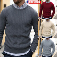 Men's Winter Warm Casual Round Neck Pullover Jumper Sweater Tops Sweatshirt US