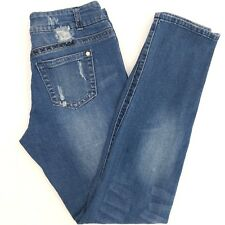 Sizzle Womens Jeans 11/12 Skinny Destroyed Distressed Tapered Leg Med Wash 32x32
