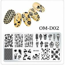 Nail Art Stamping Plate Image Decoration Summer Ice Cream Cherries Flowers OMD02