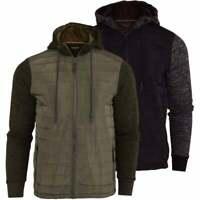 Brave Soul Mens Hooded Quilted Sweatshirt Bomber Jacket Zip Side Pockets