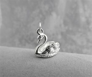 """Sterling Silver (925)  Solid 3D Charm """"Swan"""""""