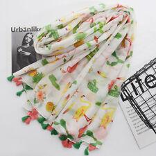 Flamingo Flower Print Tassel Fashion Women Scarf Shawl Neck Wrap Towel Splendid