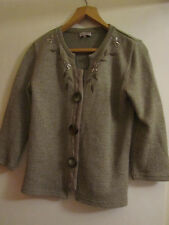 Brown 3/4 Sleeve M&S Per Una Floral Embroidered Cardigan in Size S / Size 10