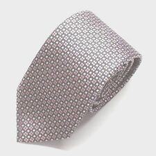 NWT Battisti Napoli Tie Pink White & Black Geometric Pattern Made in Italy