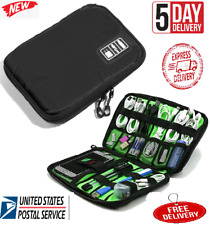 Travel Cable Organizer Electronic Accessories Bag for Phone USB Cable Black US