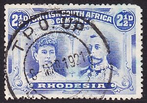 Rhodesia 1910 2½d P14 - NEAR COMPLETE TPO UP DC -1921 LATE USE OF ISSUE & STRIKE