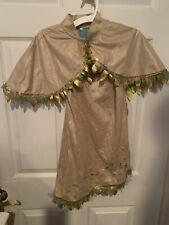 Disney Store Pocahontas Costume Child Size Medium 7/8 Gold Fringe Dress Jacket