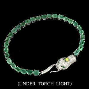 Bracelet Green Emerald Genuine Natural Gems Solid Sterling Silver Snake Design
