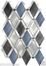 Diamond Blue Black Aluminum Kitchen Bath Wall Mosaic Backsplash Tiles- 1 Sheet