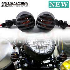 Black Motorcycle Grill Bullet Turn Signals For Harley Cafe Racer Bobber Chopper(Fits: Mastiff)