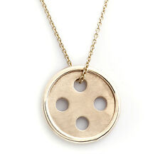 Best Button Pendant 14 Karat Yellow Gold w/ Cable Chain Necklace