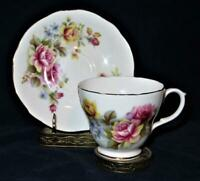 Duchess, 347 Yellow & Pink Roses, Footed Cup & Saucer Set