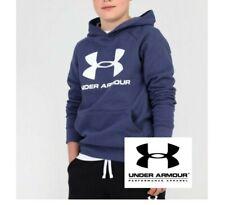 Under Armour Boys Rival Hooded Sweatshirt Junior Kids Navy Blue Hoodie Hoody New