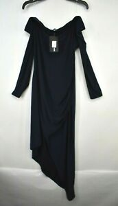 Fashion Nova Womens Blue Off-The Shoulder Long Sleeve Asymmetrical Hem Dress 1X