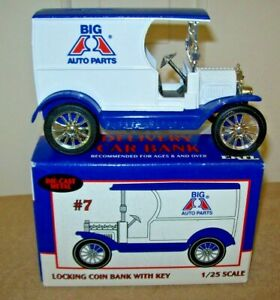 1912 Ford Delivery Car Big  A Auto Parts  Coin Bank with Key - Ertl 1:25 Boxed