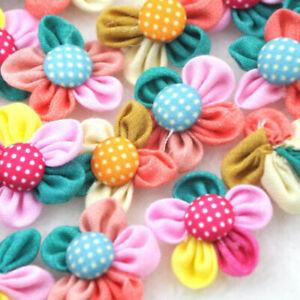 5-40PCS Mul-ticolor Ribbon Flower with Button Bead Appliques~Craft/Trim New