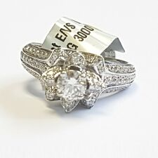 18k White Gold 1.20Ct Round Diamond Flower Shape Engagement Ring,