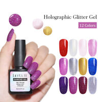 LILYCUTE 8ml Soak Off UV Gel Holographicss Glitter Gel Polish Nail Art Varnish