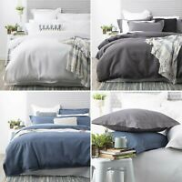 Park Avenue 100% Thick Cotton Waffle White Blue Charcoal Quilt Cover Set