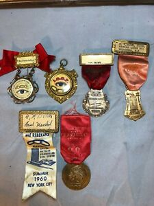 COLLECTION OF 6 VINTAGE ODD FELLOWS BADGE RIBBON IOOF - NICE SET!