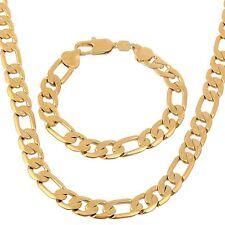 "Heavy Mens Chain Set 24k Yellow Gold GF Necklace Bracelet Jewelry 23.6""12mm"