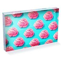 "Strawberry Ice Cream Pattern Photo Block 6 x 4"" - Desk Art Office Gift #16601"