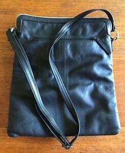 Elk Black Leather Shoulder Bag Labels Removed