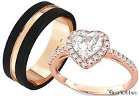 His And Hers Rose Gold Tone Tungsten / 925 Sterling Silver 2pc Wedding Ring Set